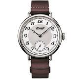 TISSOT 天梭 Heritage 1936 懷錶式機械腕錶-白x咖啡/45mm T1044051601200