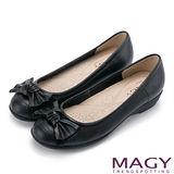 MAGY 清新氣質系女孩 紐結蝴蝶結牛皮低跟鞋-黑色
