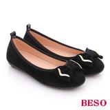 BESO 簡約知性 絨面牛皮立體蝴蝶結平跟鞋(黑)