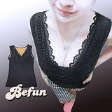 【 BeFun 內著專科 】CO 發熱衣 61508 背心款式 內有刷毛 保暖多加一層 修飾身形 彈力夠好 胸前交叉設計 蕾絲花邊 火熱上架