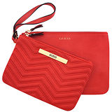 GUESS 皮革壓紋手拿包-一組二入(紅色)