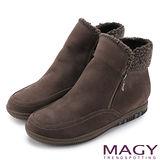 MAGY 柔軟暖呼呼 嚴選牛皮內增高捲毛短靴-咖啡
