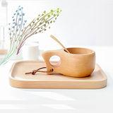 【Homely Zakka】木趣食光北歐芬蘭kuksa提把木杯+木質點心小托盤(不挑款暖心組)