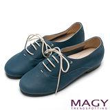 MAGY 復古舒適 經典真皮綁帶休閒平底鞋-藍色