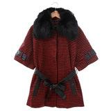 DOCH 毛領千島紋七分袖外套-紅