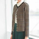 日本Portcros 現貨-柔軟圓領條紋外套(條紋/3L)