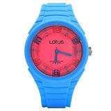 LOTUS 泡泡藍跳色時尚立體指針休閒錶/藍x粉紅面/45mm/TP2132M-10