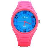 LOTUS 俏皮女孩跳色系列立體指針休閒錶/TP2132M-09/45mm/粉紅色