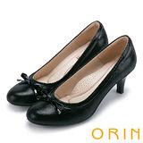 ORIN 輕熟甜美 嚴選牛皮織帶蝴蝶結中跟鞋-黑色