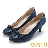 ORIN 輕熟甜美 嚴選牛皮織帶蝴蝶結中跟鞋-藍色