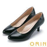 ORIN 簡約時尚OL 柔軟羊皮典雅素面高跟鞋-黑色