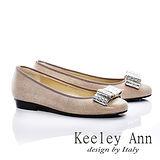 Keeley Ann 簡約出眾-高雅蝴蝶結全真皮低跟娃娃鞋(卡其色485258126)