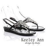 Keeley Ann 搶眼綴鑽-鑽石異國風格夾腳涼鞋(黑色512916110-ANGEL系列)