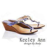 Keeley Ann金屬鍊條美鑽真皮夾腳楔形拖鞋(紫色631008203)