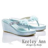 Keeley Ann 優雅渡假-幸福花瓣厚底夾腳涼鞋(淺藍色531158361)