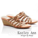 Keeley Ann 低調簡約-全真皮舒適縷空涼鞋(柑橘色531318101)