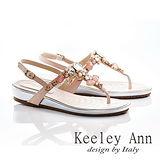 Keeley Ann 晶豔大方-真皮璀璨亮寶石夾腳涼鞋(淺粉色532008358)
