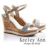 Keeley Ann魅力幾何一字真皮楔形涼鞋(灰色632013180)