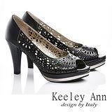 Keeley Ann 宴會首選-真皮鏤空幾何造型粗高跟鞋(黑色535328110)