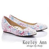 Keeley Ann 春天氣息-閃耀珠光蝴蝶圖騰內增娃娃鞋(淺粉色535158358)