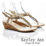 Keeley Ann 自然優雅-環扣真皮夾腳人字涼鞋(卡其色532183226)