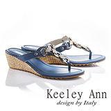Keeley Ann方形寶石鑽飾真皮夾腳拖鞋(藍色631183160)