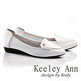 Keeley Ann學院風立體車縫線OL全真皮平底莫卡辛鞋(白色635713140)