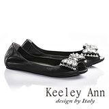 Keeley Ann寶石立體蝴蝶結鑽飾全真皮平底魚口鞋(黑色635918110)