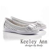 Keeley Ann少女系蝴蝶結OL雕刻鏤空平底鞋(白色625567140)-Ann系列