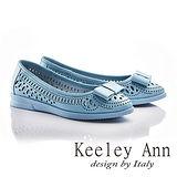 Keeley Ann少女系蝴蝶結OL雕刻鏤空平底鞋(藍色625567160)-Ann系列
