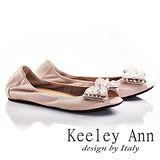 Keeley Ann寶石立體蝴蝶結鑽飾全真皮平底魚口鞋(粉紅色635918156)