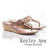Keeley Ann方形寶石鑽飾真皮夾腳拖鞋(粉紅631183156)