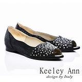 Keeley Ann 風華時尚-鑲鑽質感魚口平底鞋(黑色485288110)