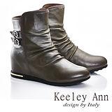 Keeley Ann 衝擊玩酷~個性金屬雙皮帶扣羊皮內增高短靴(淺咖啡色587043170)