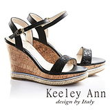 Keeley Ann魅力幾何一字真皮楔形涼鞋(黑色632013110)