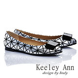Keeley Ann 簡單性格-紋路簡約蝴蝶結金屬扣娃娃鞋(銀色465251127-ANGEL系列)