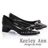 Keeley Ann甜蜜危機鉚釘蝴蝶結OL真皮尖頭中跟鞋(黑色675982110)-Ann系列