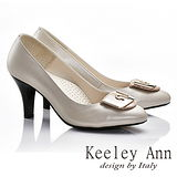 Keeley Ann 唯美好感~大方金屬環扣全真皮舒適軟墊高跟鞋(淺粉色585258158)