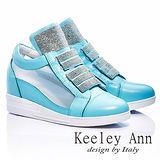 Keeley Ann 樂活主義 ~ 全真皮水鑽紗網內增高休閒鞋(淺藍-ANGEL系列-416821260)