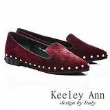 Keeley Ann 全真皮個性金屬鉚釘滾邊尖頭平底鞋(酒紅)【ANGEL系列465626157】