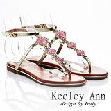 Keeley Ann 度假氛圍 ~ 方型寶石彩鑽夾腳平底涼鞋(淺粉)【412691358 - ANGEL系列】