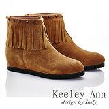 Keeley Ann 日系民族~真皮鉚釘流蘇造型心機內增高短靴(棕色587848125)