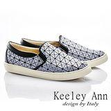 Keeley Ann 率性生活~方格簡約條紋舒適軟墊休閒鞋(白色586028140)