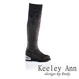 Keeley Ann  完美顯瘦~高雅印花線條低跟長靴(灰色589638180)