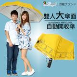 【雙龍牌】船錨海軍風。超大防風自動開收傘(亮黃下標區)雙人傘親子傘-颱風豪雨必備B6115B