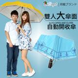 【雙龍牌】船錨海軍風。超大防風自動開收傘(水藍下標區)雙人傘親子傘-颱風豪雨必備B6115B