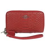 COACH 馬車LOGO鱷魚紋皮革手提雙層拉鍊中夾.紅