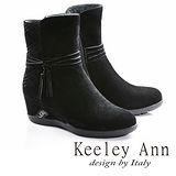 Keeley Ann優雅迷人-流蘇造型飾釦真皮內增高楔型底短靴(黑色687313110)