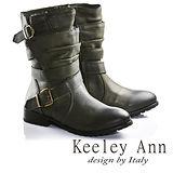 Keeley Ann美型率性層次感繫帶真皮短靴(綠色677137102-Ann系列)