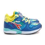 DIADORA 大童鞋 慢跑鞋 藍紅黃 DA7AKC5006